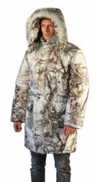 Куртка-парка мужская «Тайга» зимняя, подклад термофольга, тк.мембрана, цв.кмф Зимний лес