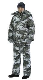 Костюм мужской «Тайга» зимний, куртка/полукомб.,подкл. термофольга, тк.мембр. Алова,кмф Серые Соты