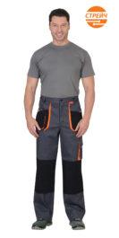 Брюки «МАНХЕТТЕН» т.серый с оранж. и черным тк. стрейч пл. 250 г/кв.м
