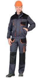 Куртка «МАНХЕТТЕН» т.серый с оранж. и черным тк. стрейч пл. 250 г/кв.м